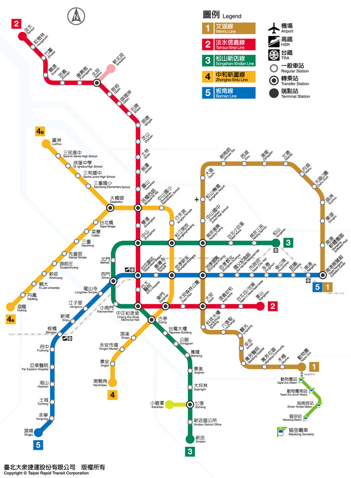 Taipei Mass Rapid Transit Route Map